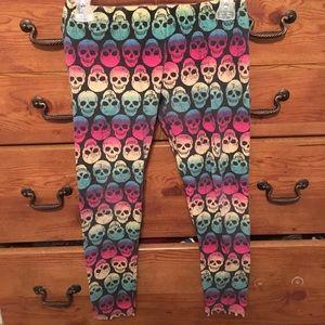 Multi colored skull design leggings